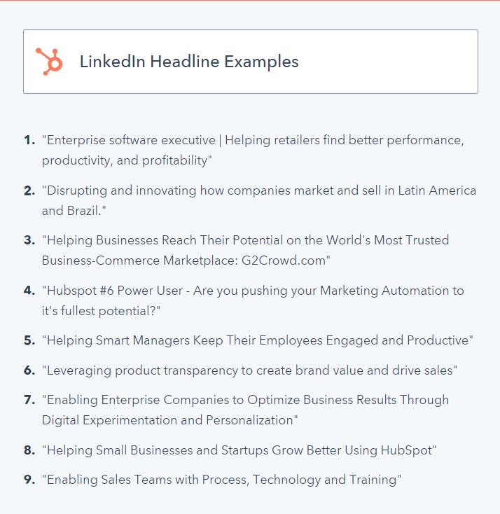 Linkedin Headline Examples